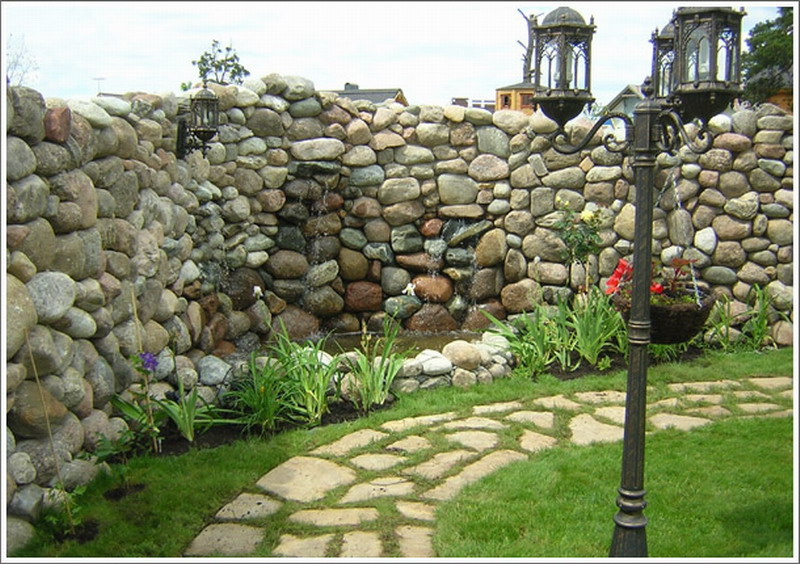 Забор из камня дизайн фото